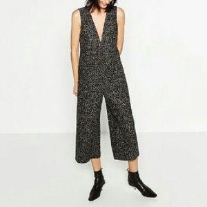 Zara Black & White Boucle Tweed Jumpsuit Sz Large